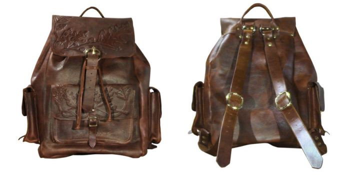 Tooled Leather Backpack by DanTheLefty