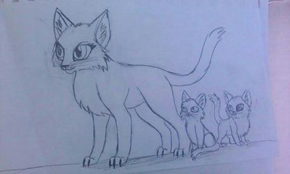 Star the cat protects her kits by PikachuGirl234