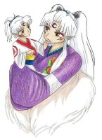 Little Prince - Little Sesshomaru with mother by Sasza-Ola