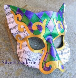 Venetian Cat Leather Masquerade Mask Mardi Gras by SilverCicada