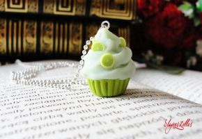 Polymer clay lime cookie necklace by Benia1991