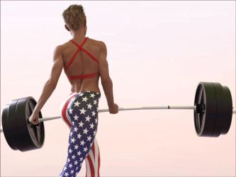 Eva does one-armed heavy-barbell curls: .gif 2 by DahriAlGhul