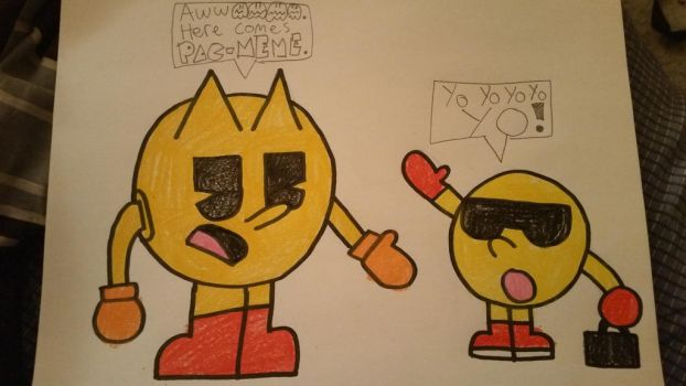 Pac-Man meets his Meme self (Crack Pac) by SuperStarfy2002