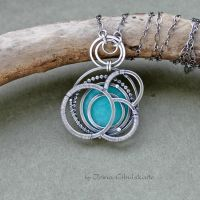 Blue Planet - Two-sided Pendant by taniri