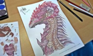 Watercolor Dragon Head. by PandiiVan