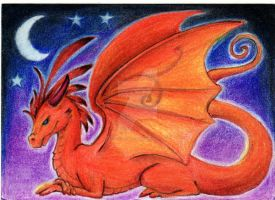 Red Night Dragon ACEO by starwoodarts