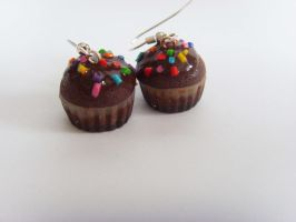 Chocolate Frosted Cupcake Earrings by tyney123