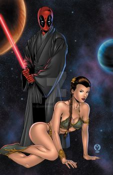 Deadpool and Leia by seanforney