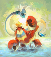 Playing in lagoon by salanchu