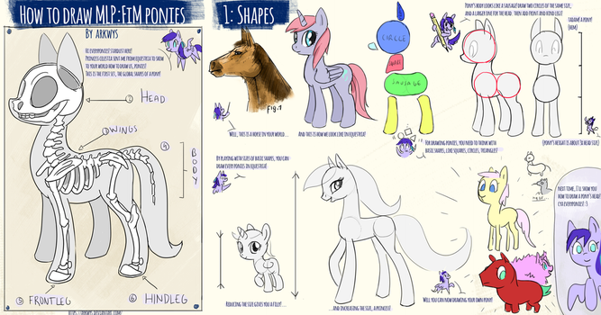 How to draw Ponies: 1- Basic shape of a pony by Arkwys