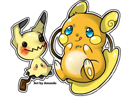 Pokemon A.Raichu + Mimikyu Chibi Stickers by AmandaMandaPanda