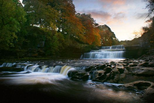 Autumn at Aysgarth Falls by floesse