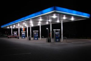 Gas Station Pumps at Night 1 by FantasyStock