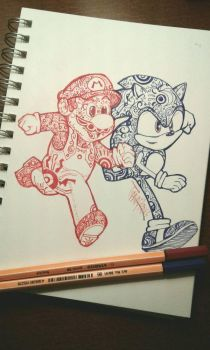 Mario and Sonic  by TTPRINCE