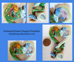 Entwined Heart Dragon Pendant - SOLD by Bittythings