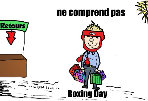 Boxing Day dessin comique by optionsclickblogart