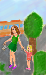 Mother daughter walk by Diakoart