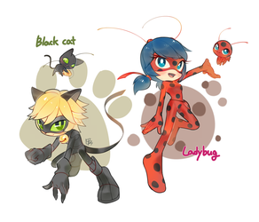 Ladybug and Cat noir by Hanybe