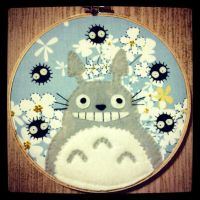 Totoro and Flowers Hoop by iggystarpup