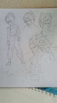 Fan Art Doodle: Son Goku by crazyanimekid777