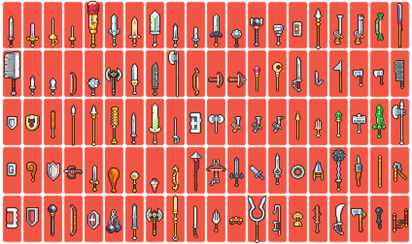 100 weapon sprites by Neoriceisgood