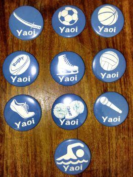 Yaoi Sports Buttons by MischievousPooka