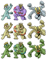Machop Machoke Machamp Pixel-overs by Axel-Comics