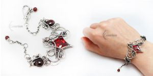 ELIVERTALX Silver, Red Zirconia and Garnets by LUNARIEEN