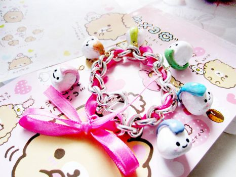 Rainbow Onigiri Ribbon Charm Bracelet by starberrycharms