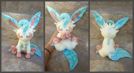 Leafeon Plush with printed minky by Kyreon