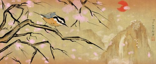 Nuthatch and Blossoms by The-Urocyon