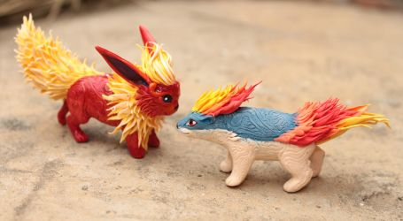 Flareon and Quilava by hontor