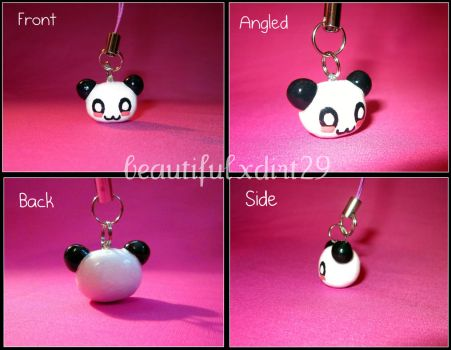 Kawaii Panda Head Phone Charm by beautifulxdirt29