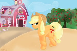 Sweet Applejack Acres -old pic- by FlameLoneWolf
