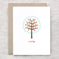 Tree Card - Handcarved by happydappybits