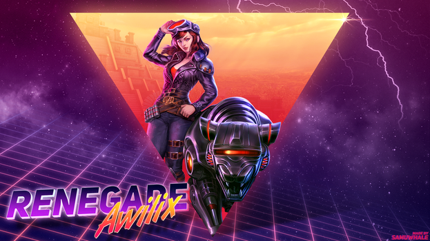 Renegade Awilix retro 80s themed wallpaper by Samuwhale