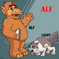 Alf and Lucky by dwaynebiddixart