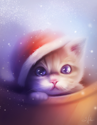 Christmas kitten by SandraWinther