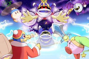 Kirby and friends vs Magolor by Ele-nya