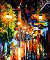 Night City Colors by Leonid Afremov by Leonidafremov