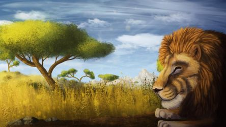 Relaxing Lion by CreeperMan0508