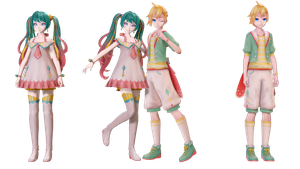 [MMD+DL]Twinkle and Radicle Star/Miku and Len by 01mikuxlen02