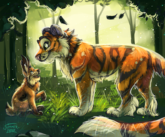 Meeting in the woods by Summer-Lynx
