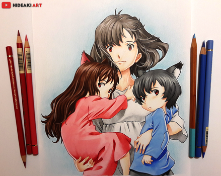 Hana, Ame and Yuki || Wolf Children by HideakiArtReal
