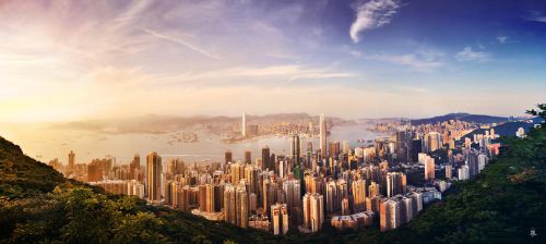 Sunset from Hong Kong Peak by romainjl