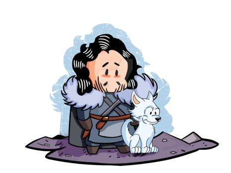 Game of Thrones - Chibi Jon Snow and Ghost by pribellafronte