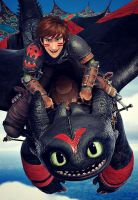 Hiccup and Toothless by trollinlikeabitchtit