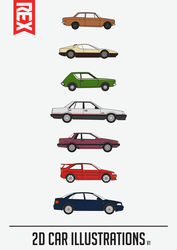 Car Illustrations (V2) by Axle9