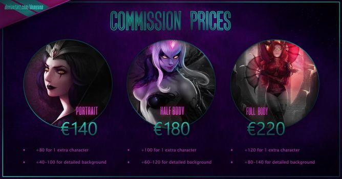 Commission price sheet by domeano
