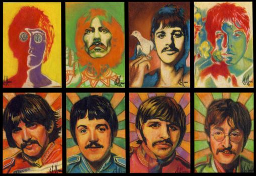 Beatles sketch cards by choffman36